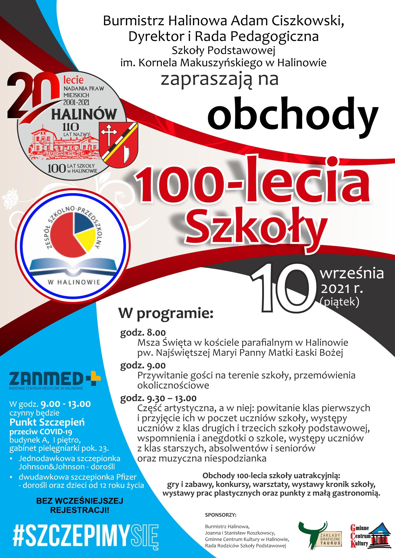 NETplakat 100 lecie szkoly w Halinowie